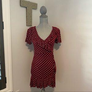 Boohoo faux wrap ruffle front tea dress polka dot